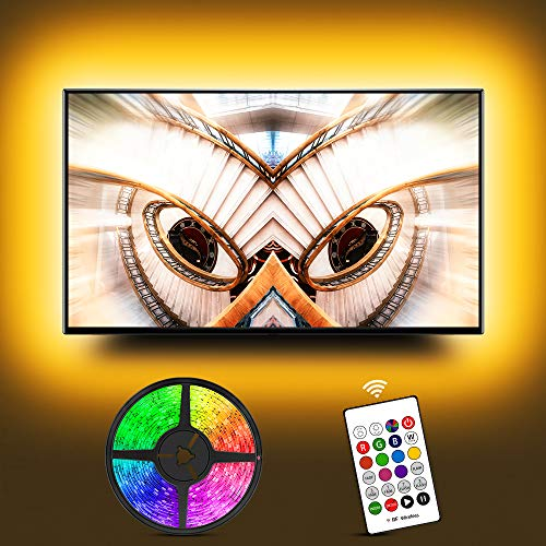 TV LED Backlight for 60 65Inches, Hiromeco USB Bias Lighting TV LED Lights Kit with RF Remote- Cover 4/4 Sides Behind TV Background Lights, 20 Colors Changing Lights for PC Monitor Gaming Room