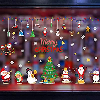 Christmas Window Clings Snowflake Decorations, PVC Christmas Ornaments Decal, Wall Door Window Christmas Decor for Home, Office, Market (Stickers 6)