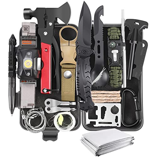 Gifts for Men Dad Husband Boyfriend, 30 in 1 Survival Gear and Equipment, Emergency Survival Kit Camping Accessories, First Aid Kit for Camping Hiking Hunting Fishing