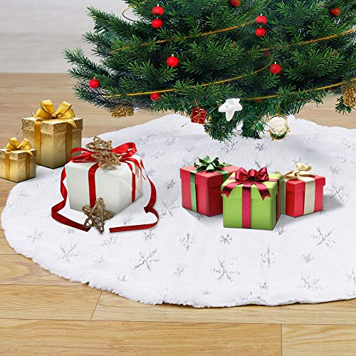 Artmag Christmas Tree Skirt 48inches Large Luxury Faux Fur with Snowflakes Tree Skirt Christmas Decorations Holiday Thick Plush Tree Xmas Ornaments (White&Silver)