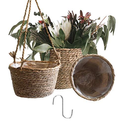 Alluroman Seegras Übertopf Rattan Korb 3er Set, Blumentopf Hängend Pflanzenkübel Draussen Drinnen 1 Stück, Pflanzentopf 2 Stück