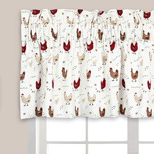 Cackleberry Home Farmhouse Chicken Valance Curtain Lined 54 Inches W x 17 Inches L
