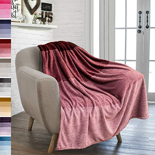 PAVILIA Flannel Fleece Ombre Throw Blanket for Couch | Soft Cozy Microfiber Couch Gradient Accent Blanket | Warm Lightweight Blanket for Sofa Chair Bed | All Season 50x60 Inches Wine Red