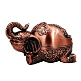 Honoro Vintage Windproof Ashtray with Lid,Unique Metal Elephant Ashtray for Cigarettes,Decorative Ashtray for Home Office Decor,Red Copper