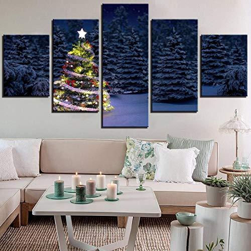 Tacbz Home Decoration 5 panelen foto's kerstboom sneeuw nacht landschap druk op canvas schilderij kunst voor muur poster voor de woonkamer 200 x 100 cm schilderij op doek muurposter
