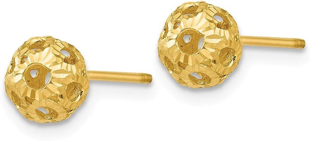 Black Bow Jewelry 5mm Diamond Cut Open Ball Post Earrings in 14k Yellow Gold