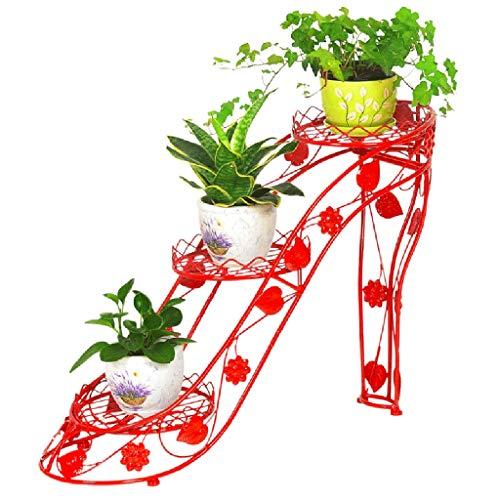 XYFJD Pflanzenständer Blumenregal , Blumenständer Aus Schmiedeeisen, Mehrschichtiger Topfständer, High Heels-Lagerregal (Color : Red, Size : L)