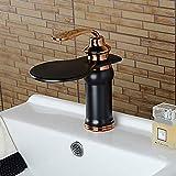 Flexible Baño grifo del fregadero - Cascada de aceite del frotamiento de bronce sola manija Juego Central grifo Una HoleBath/Latón