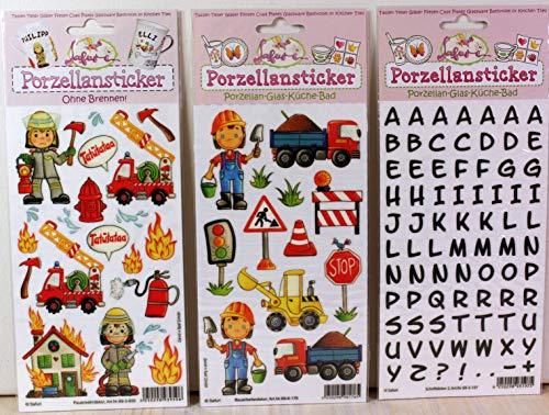 Safuri Porzellansticker-Set 4, Feuerwehr, Bauarbeiter. Schrift schwarz, Gratis Anleitungsbuch