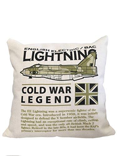 De Wooden Model Company Ltd Engelse elektrische bliksem vliegtuig kussen (46x46 cm binnenzijde inbegrepen). Af-Wit