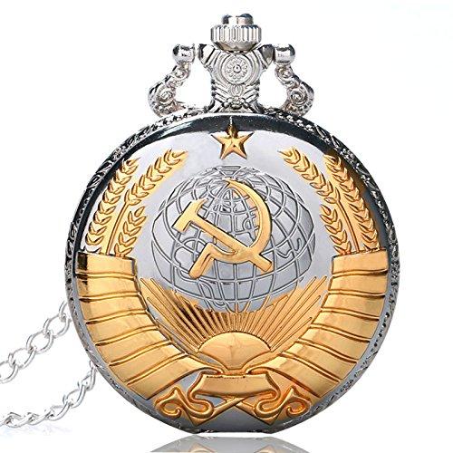 Vintage UDSSR Sowjetischen Abzeichen Sichel Hammer Stil Quarz Taschenuhr Männer Frauen Silber CCCP Russland Emblem Kommunismus Anhänger Geschenke