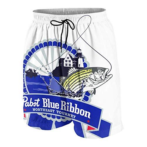 NDNG Pabst Blue Ribbon Teen Junge Hawaiian Beach Shorts 3D gedruckte Badehose QuickDrying Surfing Badeanzug