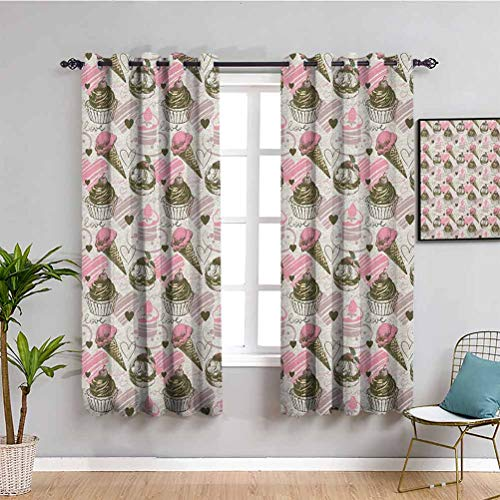 Ice Cream Black Out Curtain Panels for Bedroom, Curtains 63 inch Length Grunge Style Cupcakes with Murky Heart Love Romance Illustration Maintain Good Sleep Dust Pale Pink Army Green W63 x L63 Inch