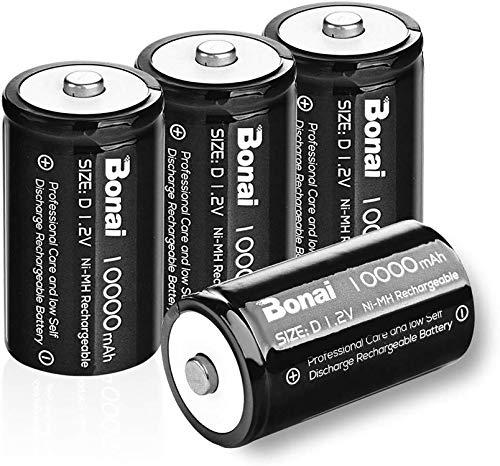 BONAI Ultra Pila Ricaricabile Stilo D 10000mAh, Batterie Ricaricabili HR20 Mono (Pre-caricate, 1200 cicli, 1.2 V, Ni-MH) 4 Pezzi