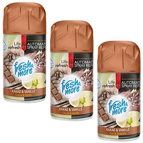 3x Fresh&More Kakao&Vanille Lufterfrischer Nachfüller Für Freshmatic Max, 250ml
