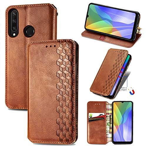 Miagon Samsung Galaxy A11 Mode Hülle,Retro PU Leder Flip Brieftasche Abdeckung Magnetverschluss Folio Ständer Kartensteckplätze Handyhülle,Braun