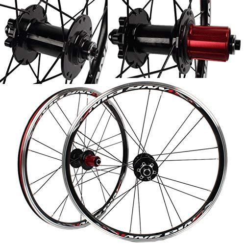 TYXTYX Ejes de liberación rápida Accesorio de Bicicleta BMX Juego de Ruedas de Bicicleta de 20 Pulgadas Rueda de Bicicleta 406/451 Disco de llanta V- Freno de liberación rápida para 7/8/9/10 Casset