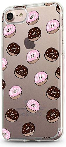 Avana Funda para iPhone 7 / iPhone 8 Carcasa Transparente Slim Case Silicona TPU Cover Caso Protectora Motivo (Donuts)