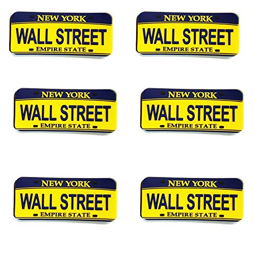 Magnet - New York License Plate Wall Street (6 Set) Refrigerator Magnet Empire State NYC Fridge Magnet - Empire State NYC Gift and Souvenir 3' x 2 ' Size (Wall Street)