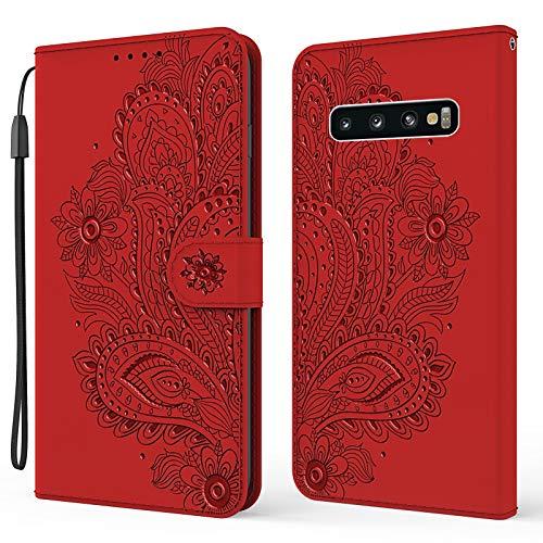 Nadoli Brieftasche Hülle für Samsung Galaxy S10,Schön Geprägt Pfau Blumen Pu Leder Magnet Handyhülle Tasche Schutzhülle Handytasche Klapphülle Standfunktion mit Kartenfächer