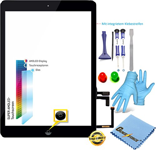 Genieforce® Retina touchscreen glas digitizer zwart voor iPad Air 5. generatie display, met LVA flexkabel, homebutton - incl. 9-in-1 professionele gereedschapsset zwart zwart