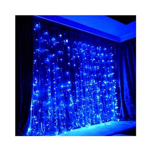 JnDee Safe Voltage Curtain Christmas Fairy Lights BLUE 300 LED 3m*3m 30 Drops Plus a Massive 10M Lead Cable, 8 Modes with Memeory, 31V Safe Voltage (3M*3M 300LED, Blue)