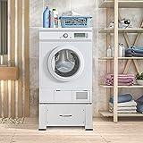 ECD Germany Waschmaschinen Untergestell mit Schublade, Weiß, aus Stahl, bis 150kg, Stabiler Waschmaschinensockel, Waschmaschinenerhöhung, Waschmaschinen-Unterbau, Podest für Waschmaschine, Trockner