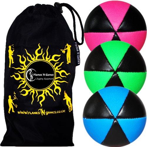 3X Astrix UV Balles de Jonglage en Cuir Super Durable (Leather) Pro Jonglerie Beanbag Jonglage Balles + Sac de Transport. (Rosa/Vert/Bleu)