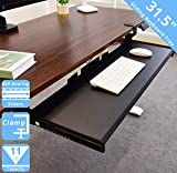 Seville Classics Airlift 360 Clamp-On Under-The-Desk Sliding Keyboard Tray Extra-Wide Shelf Holder, 31.5', Black