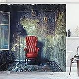 ABAKUHAUS Antiguo Cortina de Baño, Butaca Vieja Sucia Casa, Material Resistente al Agua Durable Estampa Digital, 175 x 200 cm, Pálida Negro Rojo Verde