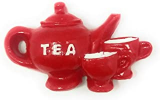 Shiani Handicrafted Tea Pot and Cup Resin Fridge Magnet (Red)