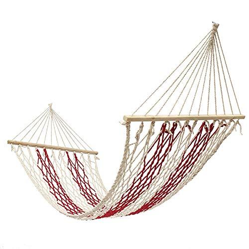 Hamaca de camping 190 x 80 cm para acampar al aire libre, cuerda de algodón, columpio para colgar en la cama, jardín, patio, carga máxima: 100 kg, viajes, mochilero, playa, patio trasero