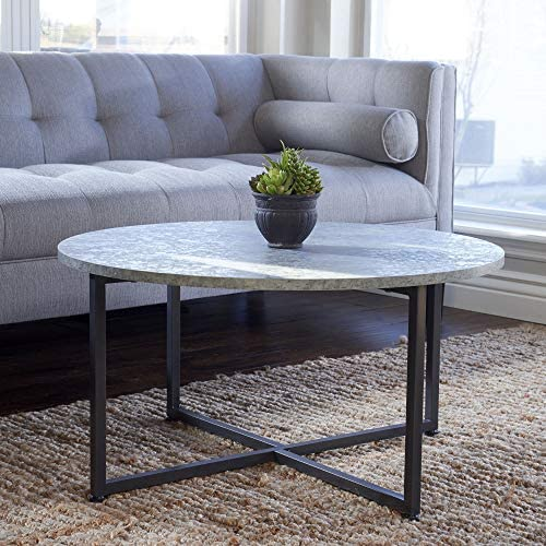Best Household Essentials Round Gray Coffee Table, Grey Slate