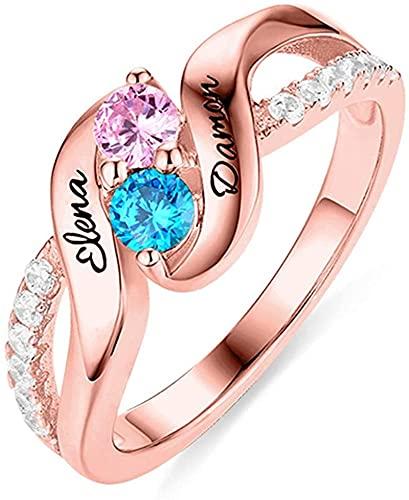 kyznx anillo de piedra de nacimiento con nombre personalizado, plata de ley 925, anillo de promesa, anillo de boda, anillo de compromiso, oro rosa