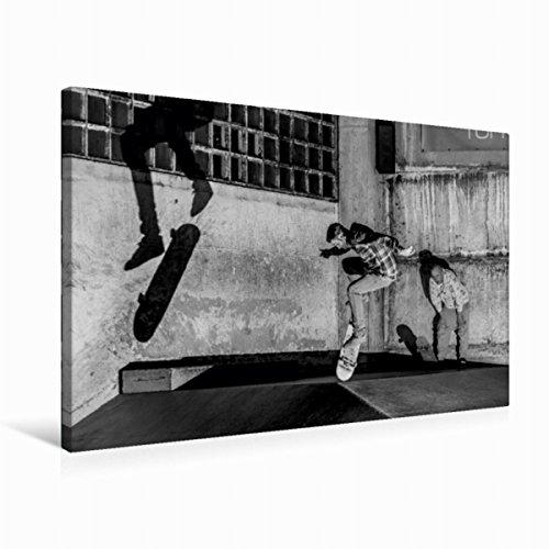 CALVENDO Premium Textil-Leinwand 75 cm x 50 cm quer, Auf dem Skateboard von Michael Wenk | Wandbild, Bild auf Keilrahmen, Fertigbild auf echter Leinwand. Sebastian M. - Hardflip Sport Sport