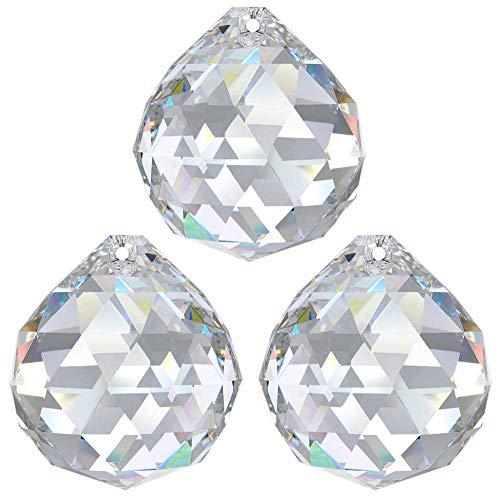 3X Kristall Kugel Ø 30mm Crystal 30% PbO ~ Feng Shui Sonnenfänger Regenbogen Kronleuchter