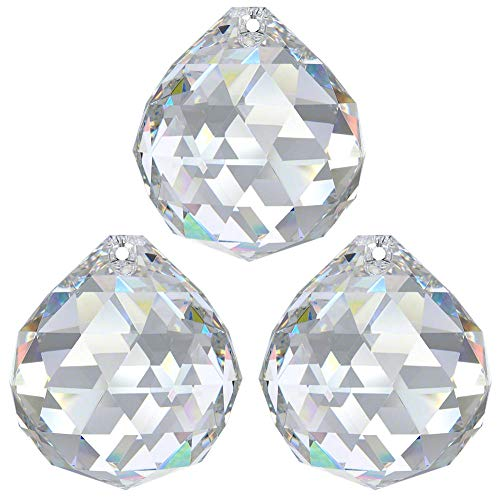 3 bolas de cristal de 30 mm de diámetro, 30 % PbO ~ Feng Shui, atrapasoles, arco iris, candelabros