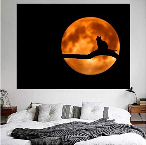 Lune Lumière Arbre Branche Chat Assis Tapisserie Nuit Animal Ombre Image Couverture de Rideau Décoration Murale 150 * 200 Cm