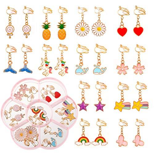 Souarts - 12 orecchini a clip per bambine e ragazze, a forma di fiore, con ananas e cavallo, colore: Bianco