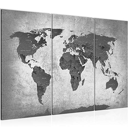 Runa Art Weltkarte Bild Wandbilder Wohnzimmer XXL Grau Länder Modern 120 x 80 cm 3 Teilig Wanddeko 107631c