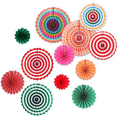 Yisika 12 Pcs Ventilador de Papel para Colgar,Decoración Abanicos de Papel,Ventiladores de Papel de Colores,Redondo Flor de Abanico de Papel,Fiesta Suministros Decoraciones para Fiesta Boda Cumpleaños