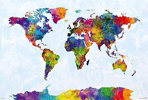 POSTER STOP ONLINE Map of The World - Watercolor Art Poster/Print (World Map Including Antarctica) (by Michael Tompsett) (Size 36' x 24')