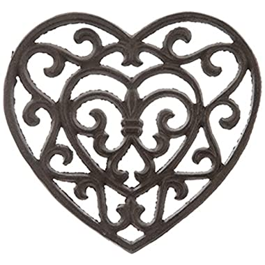 Rust Cast Iron Metal Kitchen Trivet or Home Wall Decor (Heart)