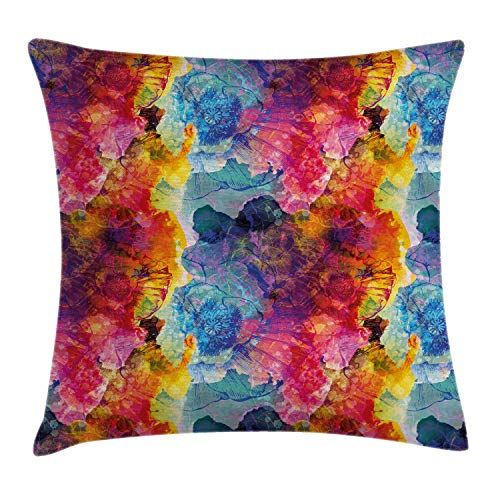 Ambesonne Colorful Throw Pillow Cushion Cover, Abstract Modern Art Expression Pattern Vector Illustration Design Artwork Print, Decorative Square Accent Pillow Case, 18