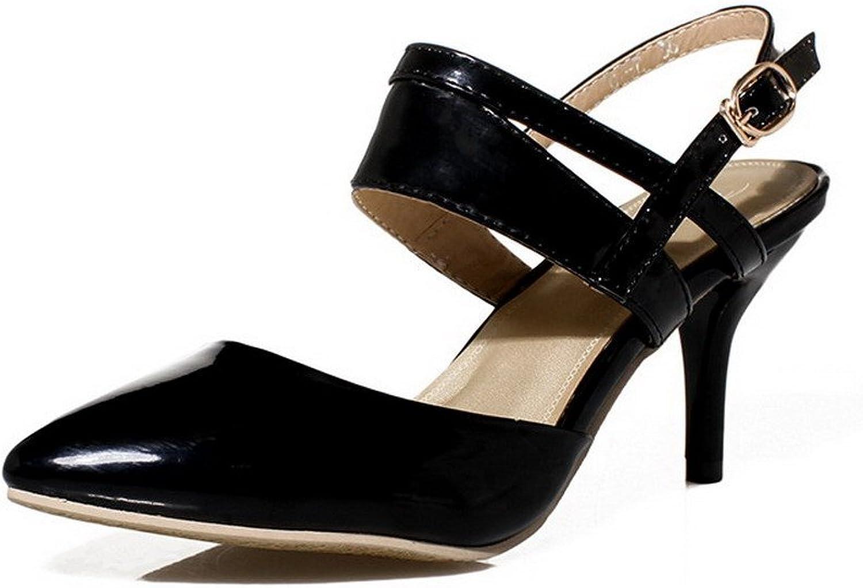 WeenFashion Women's Frosted Buckle Split Toe No-Heel Solid Flip-Flop-Sandals