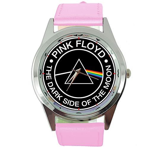 Taport® Dark Side Of The Moon montre ronde à quartz rose véritable Bande de cuir + Gratuit batterie de rechange + Sac Cadeau Gratuit