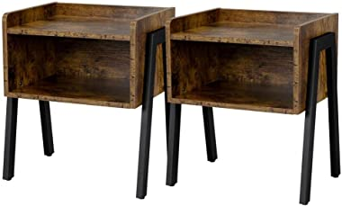 Topeakmart Nightstand, Night Stands for Bedrooms Set of 2, Stackable Bedside Tables for Small Spaces, Wood Look Metal Frame F