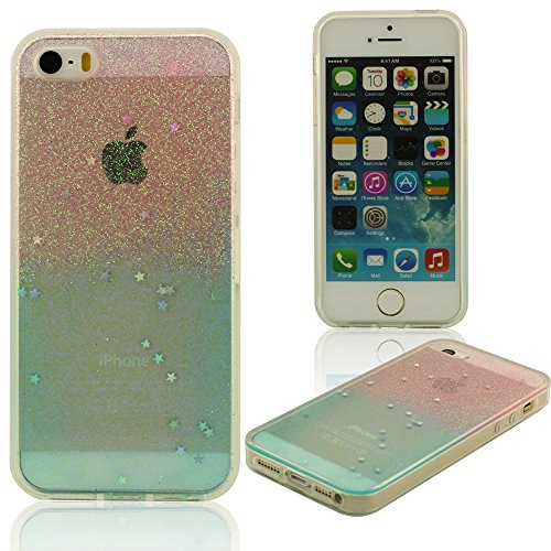 Brillante Glitter Superficie iPhone 5 5S Funda, Skin Cover Case para Apple iPhone 5 5S 5G ( iPhone 5C No Encajar ) Polychrome Colorido Estilo Gradual Cambiar Color, Suave Transparente TPU Material