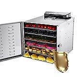 ZXLLAFT Deshidratadores Alimentos Deshidratador Acero Inoxidable con Panel Pantalla Táctil Temperatura Ajustable 30 80 ℃ Deshidratador Eléctrico, para Carne Res, Frutas y Verduras,220V