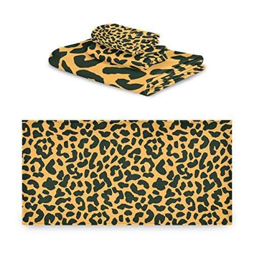 TropicalLife Rulyy - Juego de toallas de tres piezas con estampado de leopardo y tigre de tres piezas de algodón absorbente toalla de mano suave toalla cuadrada para cocina, baño al aire libre